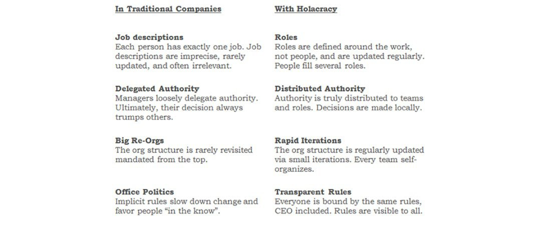 traditional companies vs. companies with holacracy